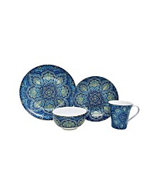 222 Fifth Agustina Opulent Blue 16 Piece Dinnerware Set