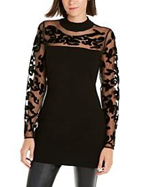 INC Velvet-Flocked Illusion Sweater, Created For Macy's