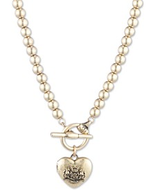 """Gold-Tone Crested Heart 16"""" Beaded Pendant Necklace"""