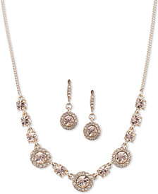 "Givenchy Crystal Halo Collar Necklace & Drop Earrings Set, 16"" + 3"" extender"