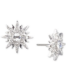 Silver-Tone Crystal Star Button Earrings