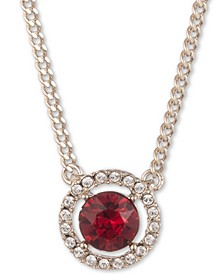 """Crystal Halo Pendant Necklace, 16"""" + 3"""" extender"""