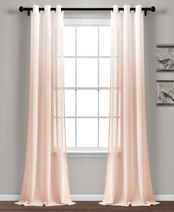 "Lush Decor Ombre Stripe 38"" x 84"" Sheer Curtain Set"