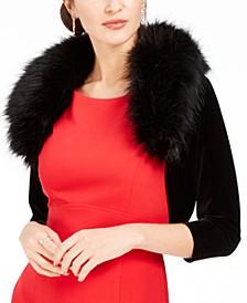 Velvet Faux-Fur-Collar Shrug, Created for Macy's