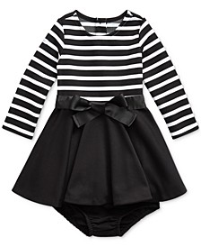 Baby Girl's Striped Jersey-Ponte Dress