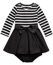 Baby Girl's Striped Jersey-Ponte Dress