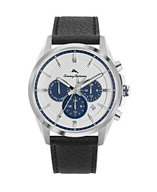 Men's Chronograph Silver-Tone Leather and Stee Starp Watch, 43mm