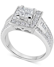 Diamond Princess Halo Engagement Ring (1-1/8 ct. t.w.) in 14k White Gold