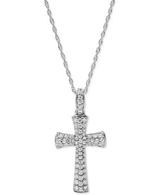 "Diamond Cross 18"" Pendant Necklace (1/2 ct. t.w.) in 10k White Gold"