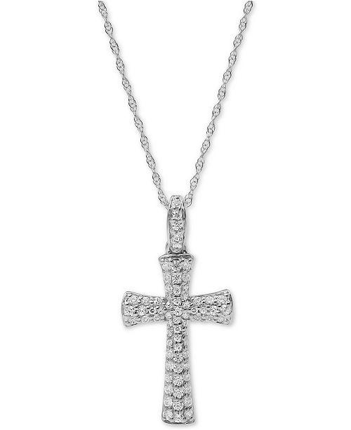 "Macy's Diamond Cross 18"" Pendant Necklace (1/2 ct. t.w.) in 10k White Gold"