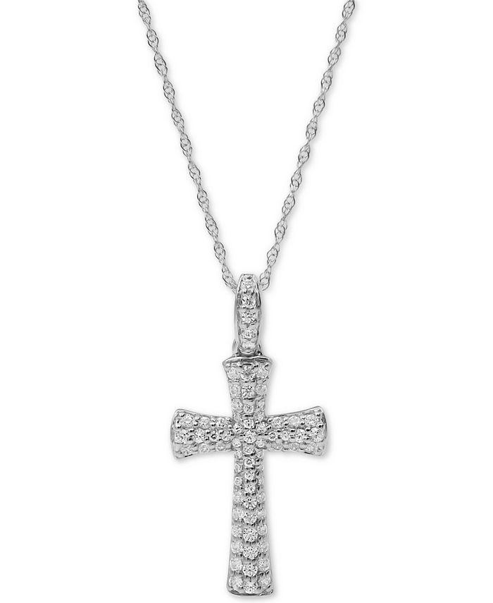 "Macy's - Diamond Cross 18"" Pendant Necklace (1/2 ct. t.w.) in 10k White Gold"