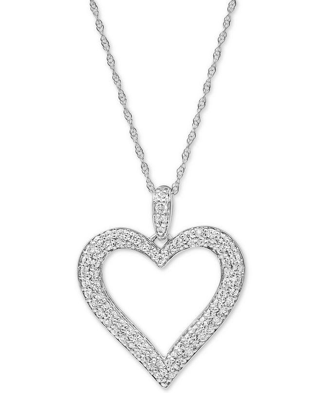"Macy's Diamond Heart 18"" Pendant Necklace (1/2 ct. t.w.) in 10k White Gold"