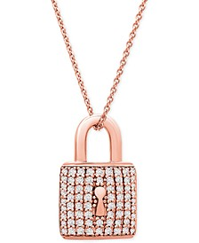 "Diamond Padlock 18"" Pendant Necklace (1/3 ct. t.w.) in 10k Rose Gold"
