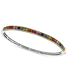 EFFY® Multi-Sapphire Bangle Bracelet (2-3/4 ct. t.w.) in Sterling Silver & 18k Gold