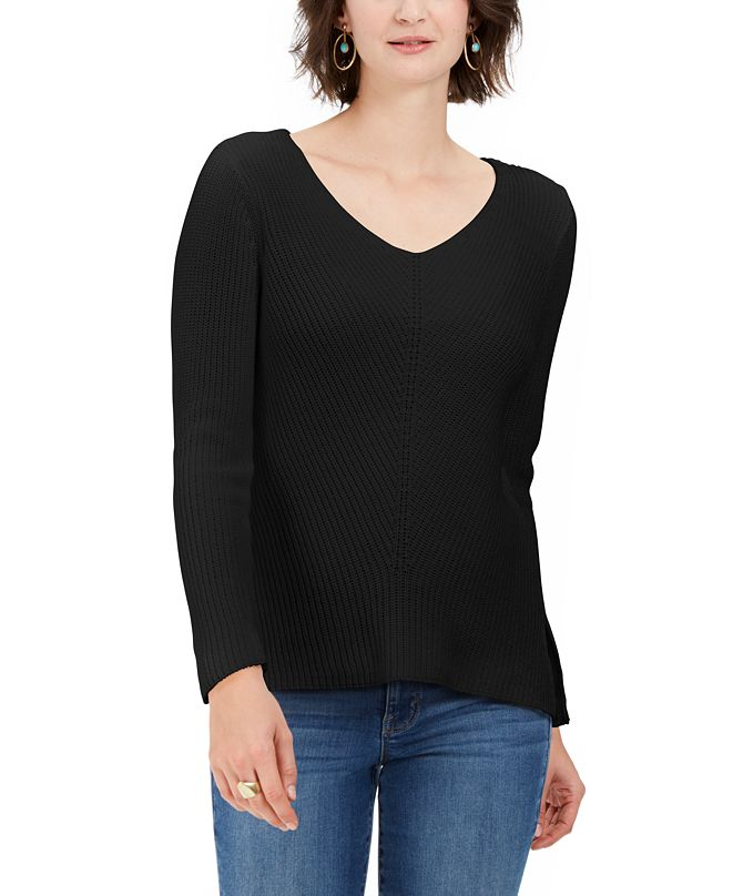 Style & Co Plus Size V-Neck Cotton Sweater, Created For Macy's