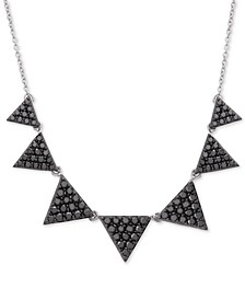 "Diamond Triangle 14-1/2"" Statement Necklace (1-1/2 ct. t.w.) in 10k White Gold"