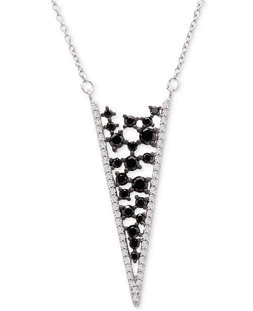 "Macy's Diamond Scatter Chevron 18"" Pendant Necklace (1-1/2 ct. t.w.) in 14k White Gold"