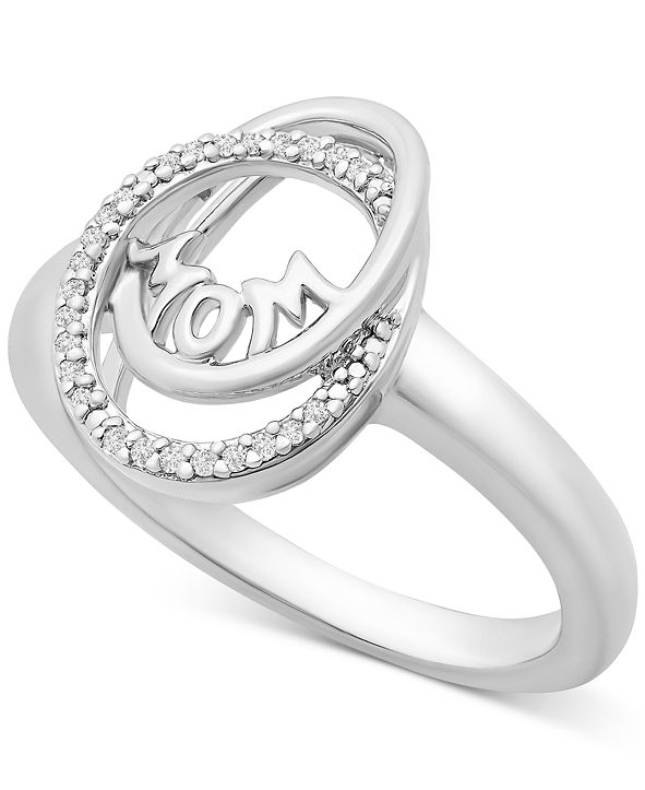 """Macy's Diamond """"Mom"""" Statement Ring (1/20 ct. t.w.) in Sterling Silver"""