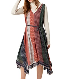 Caprice Printed Handkerchief-Hem Dress