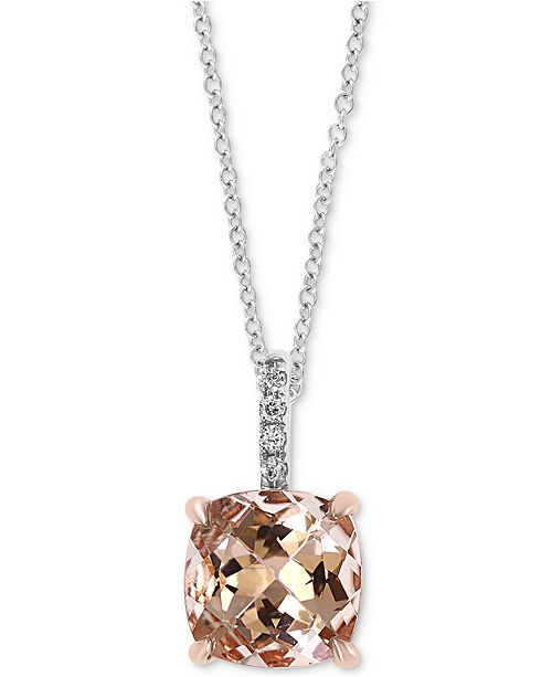 "EFFY Collection EFFY® Morganite (1-5/8 ct. t.w.) & Diamond Accent 18"" Pendant Necklace in 14k White Gold"