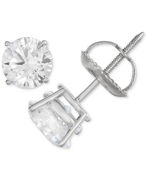 Macy's Certified Diamond Stud Earrings (1/2 ct. t.w.) in 14k White Gold