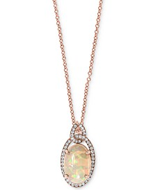 "EFFY® Opal (2-1/10 ct. t.w.) & Diamond (1/5 ct. t.w.) 18"" Pendant Necklace in 14k Rose Gold"