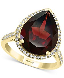 EFFY® Rhodolite Garnet (8-5/8 ct. t.w.) & Diamond (1/3 ct. t.w.) Pear Statement Ring in 14k Gold