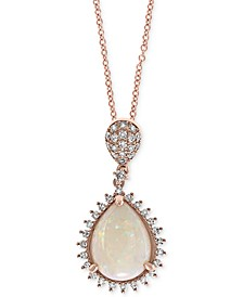 "EFFY® Opal (1-1/20 ct. t.w.) & Diamond (1/5 ct. t.w.) 18"" Pendant Necklace in 14k Rose Gold"