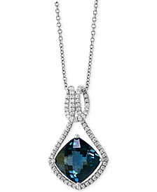 "EFFY® London Blue Topaz (5-1/2 ct. t.w.) & Diamond (1/3 ct. t.w.) 18"" Pendant Necklace in 14k White Gold"