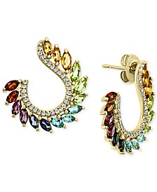 EFFY® Multi-Gemstone (2-1/2 ct. t.w.) & Diamond (1/4 ct. t.w.) Front & Back Hoop Earrings in 14k Gold