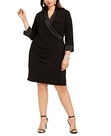 Plus Size Tuxedo-Collar Sheath Dress
