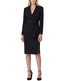Asymmetrical Belted Skirt Suit