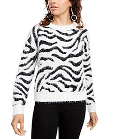 Juniors' Fuzzy Zebra Sweater