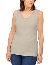 Plus Size Cotton Scalloped-Lace Tank Top, Created for Macy's