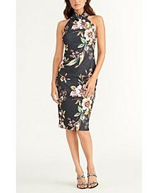 Sleeveless Printed Halter Dress