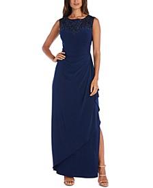 Sequin-Neck Gown