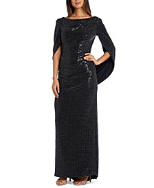 Sequined Draped-Back Gown