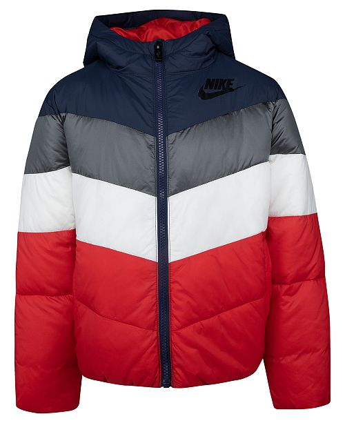 Nike Little Boys Hooded Chevron Colorblocked Puffer Jacket