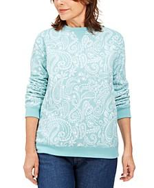 Petite Paisley-Print Sweatshirt, Created For Macy's