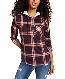 Juniors' Plaid Faux Fur-Trimmed Hoodie