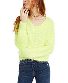 Freshman Juniors' Fuzzy V-Neck Sweater