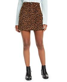 Juniors' Leopard-Print Corduroy Skirt