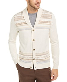 Men's Geo-Stripe Intarsia-Knit Cardigan, Created For Macy's