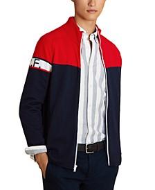 Men's Red Fleece Colorblocked Full-Zip Sweater