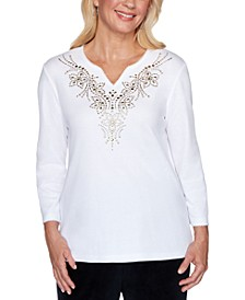 Bright Idea Embellished Split-Neck Top