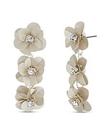 Flower Rhinestone Drop Earring in Silver-Tone Alloy