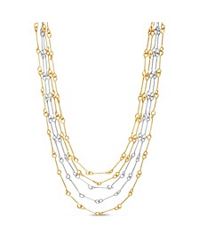 Bar Link Layered Necklace in Yellow Gold-Tone Alloy