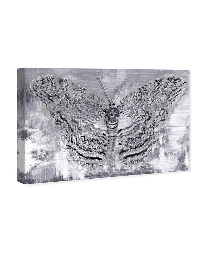 """Oliver Gal Silver Winged Butterfly Canvas Art, 24"""" x 16"""""""