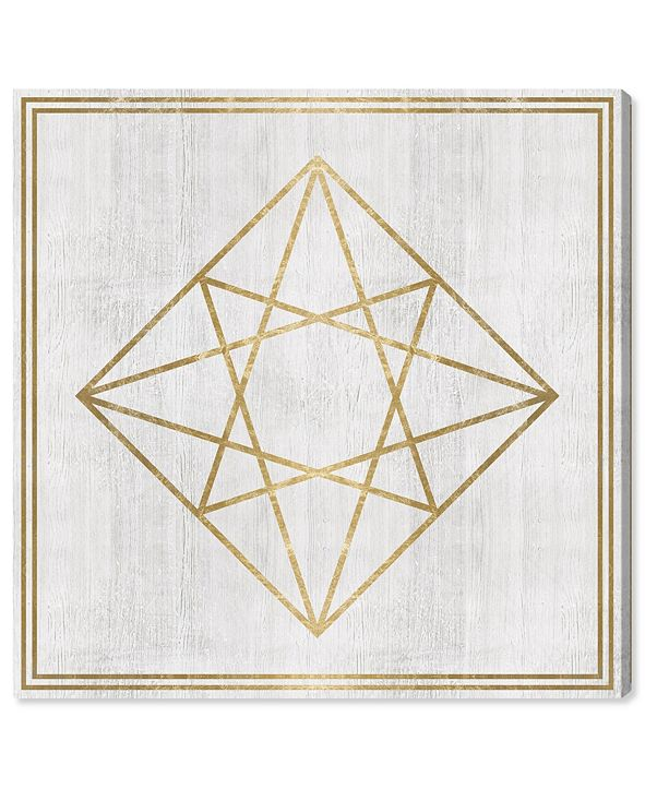 "Oliver Gal Whitewash Wood Geometric Diamond Canvas Art, 24"" x 24"""