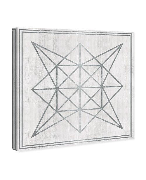 "Oliver Gal Whitewash Wood Geometric Star Canvas Art, 12"" x 12"""